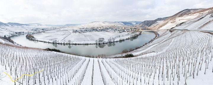 Trittenheim ein Wintermärchen, Panormafotografie von Trittenheim im Winter